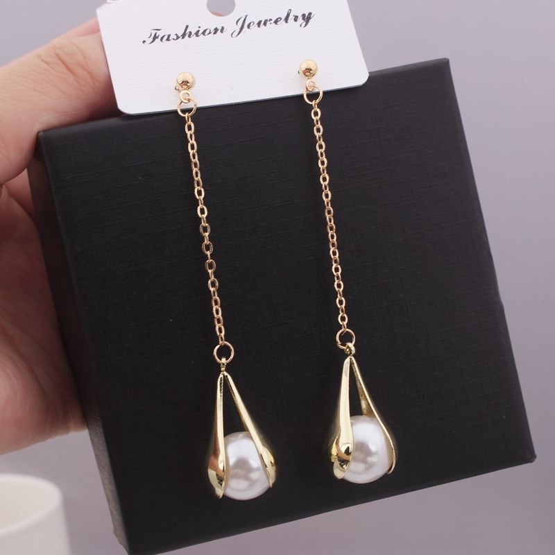 Pendientes de borla largos de Metal perlas ins personalidad de las señoras gota de agua temperamento pendientes joyería para fiesta y boda francés elegante