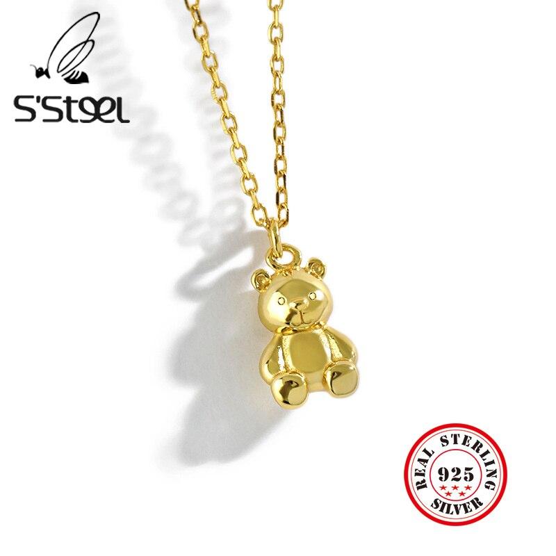 Ожерелье-женское-из-серебра-925-пробы-с-подвеской-в-виде-медведя