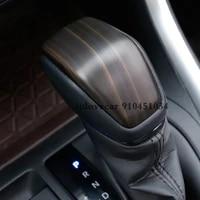 for toyota rav4 rav 4 2019 2020 abs peach wood grain car gear shift lever knob handle cover trim sticker styling accessories