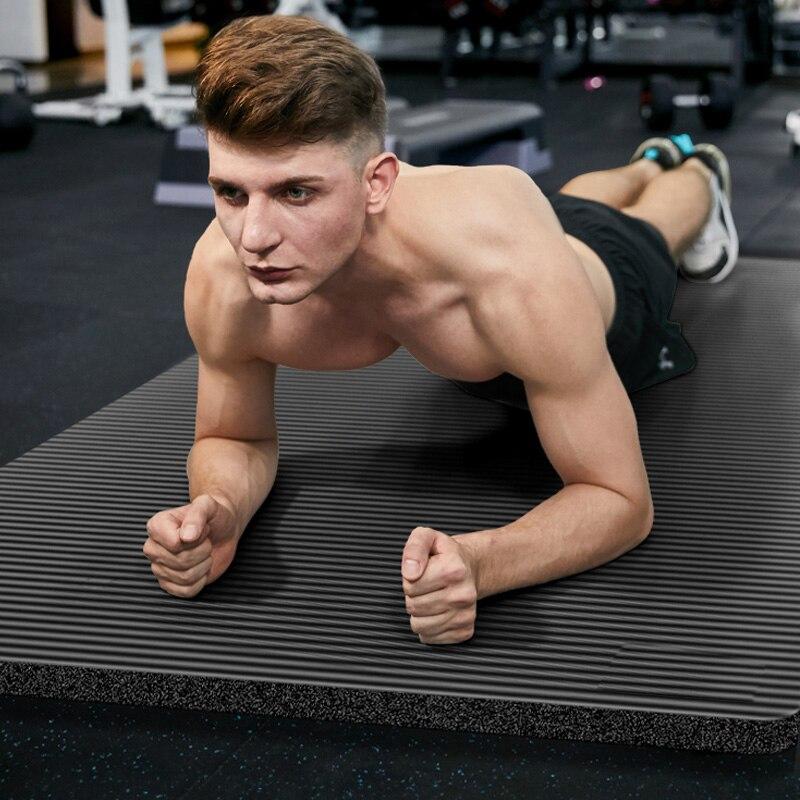 185X80X1.5cm esteras de gimnasio para hombre de gran tamaño NBR esteras de Yoga antideslizantes para estera de Fitness 15MM almohadilla deportiva para Fitness con vendas de gran tamaño Tapete