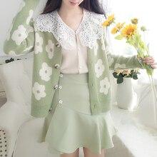 Pull jupe femmes vêtements ensemble tricot Cardigan manteau doux fille vêtements tenue florale tricots Vestido costume dame vêtements qualité