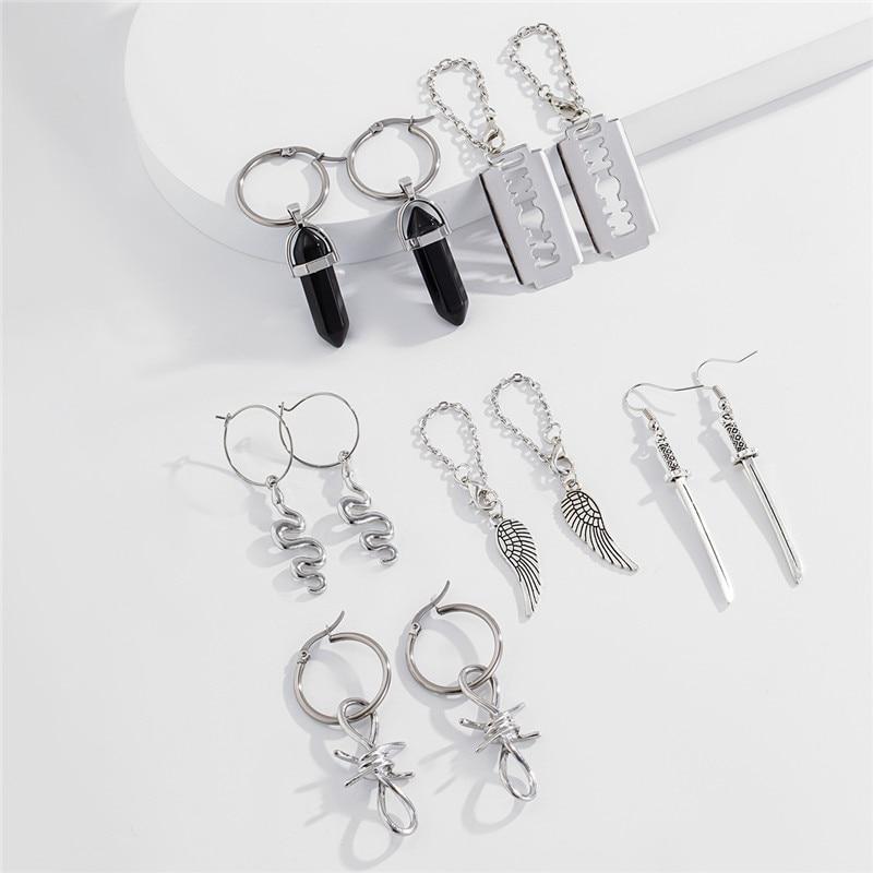 Y2K Piercing Studs Creativity Design Cold Wind Snake Shaped Blade Wing Pendant Earrings Boho Multi Element 6pcs/Set Earrings