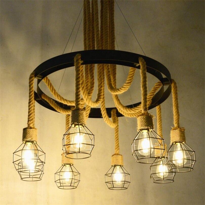 Retro Hemp Rope Pendant Lights For Restaurant Cafe Bar Folt Industrial Lamp Home Decor Vintage Hanglamp Kitchen Hanging Lamps Pendant Lights Aliexpress