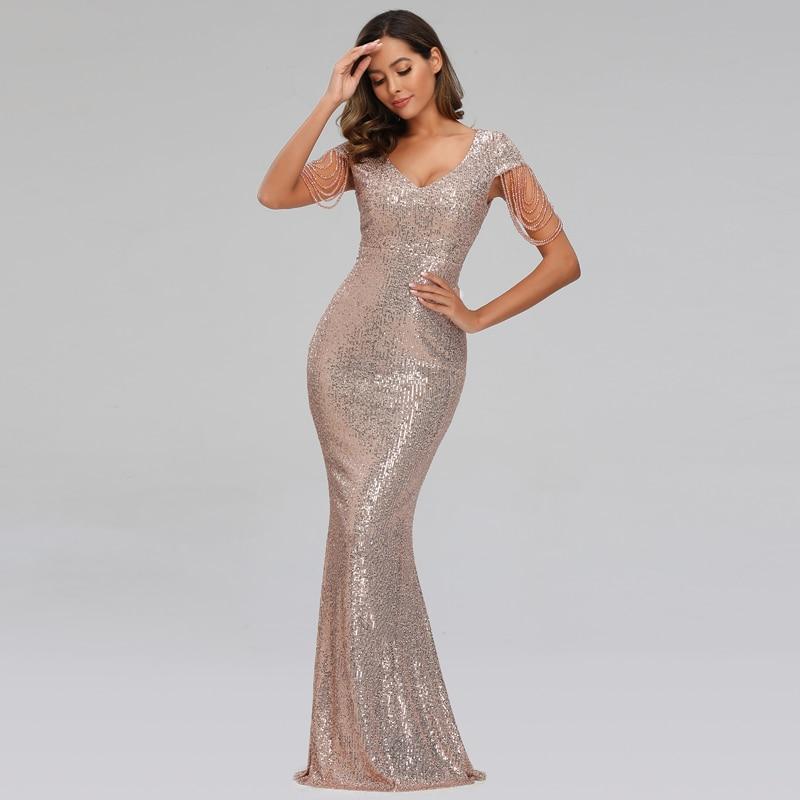 YIDINGZS 2021 New Women Sequin Evening Dress Elegant V Neck Beaded Party Bodycon Maxi Dress