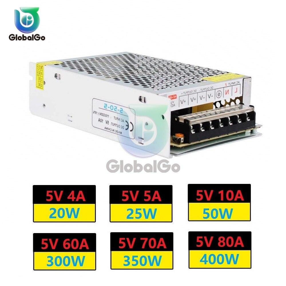 Transformador de iluminación, adaptador de fuente de alimentación conmutada, AC110V, 220V a CC, 5V, 4A, 5A, 10A, 60A, 20A, 30A, 70A, 80A