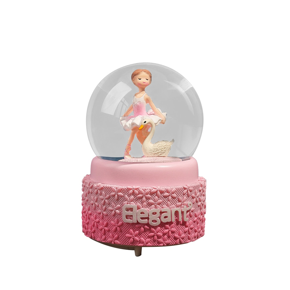 Creative Girl Heart Pink Fantasy Ballet Snow Lantern Crystal Ball Music Box Student Couple Gift Music Box Decoration Snowball C