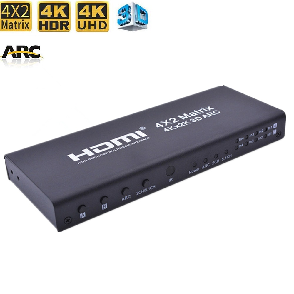 Matriz HDMI 4x2 interruptor divisor de 4K x 2K HDMI 2,0 matriz de audio arco HDCP 2,2 Control remoto IR