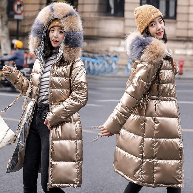Chaqueta de algodón brillante para Mujer, Abrigo largo de algodón grueso y...