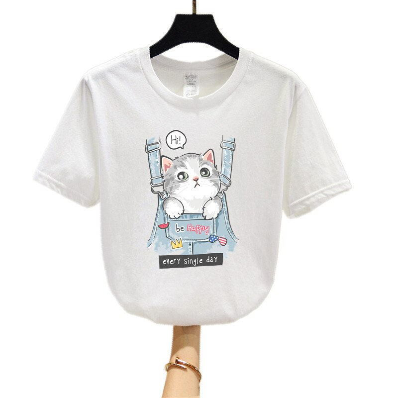 2021 New Summer Clothing Cute Cartoon Pocket Cat Short-Sleeved T-Shirt Girl Top Clothing