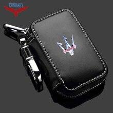 KUNBABY-porte-clés de voiture en cuir véritable   Porte-clé de voiture, portefeuilles de clés de voiture, anneau de voiture, coque de sac pour Maserati 1