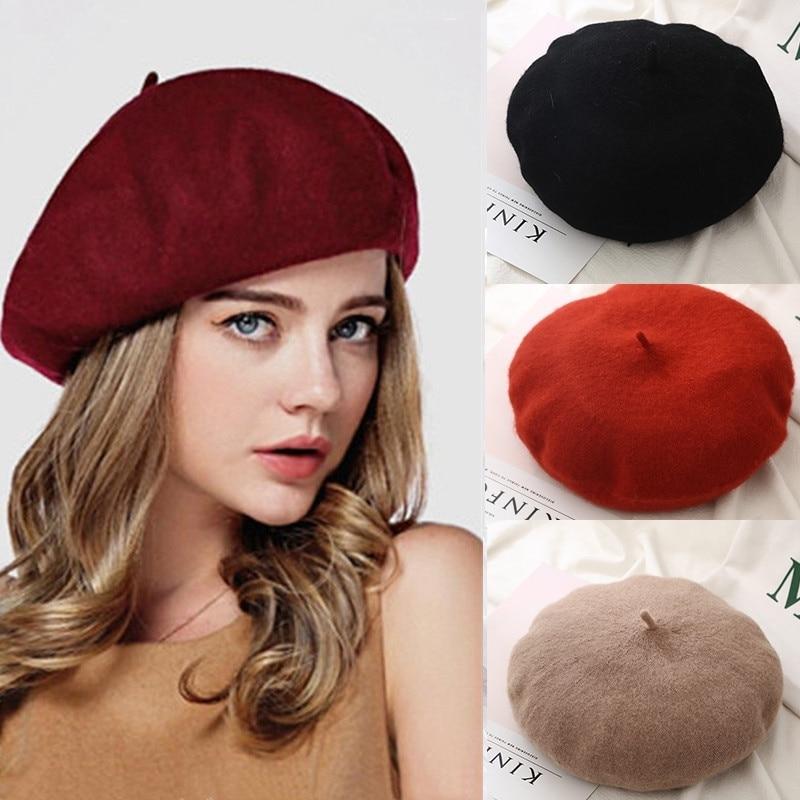 French Beret Caps for Women Autumn Winter Outdoor Berets Street Style Plain Cap Wool Warm Femme Girl
