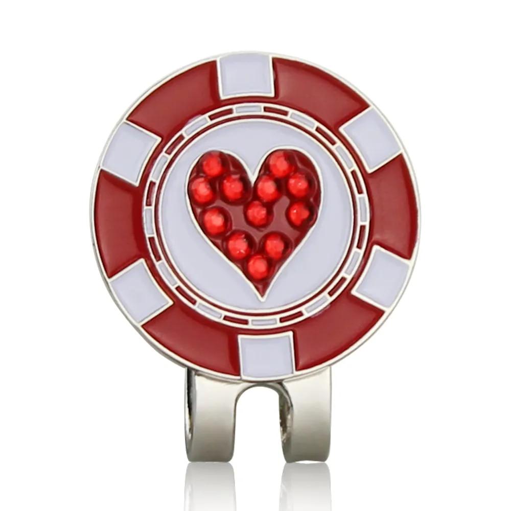 Marque de balle de Golf en forme de cœur, Clip magnétique pour chapeau de Golf, marqueur de Golf, Position de la balle