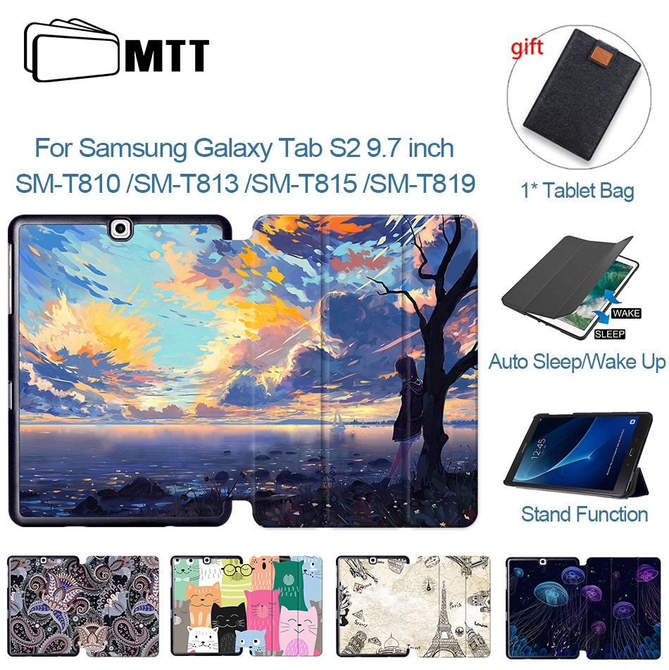 MTT Cartoon Anime For Samsung Galaxy Tab S2 9.7'' Case SM-T810 T813 T815 T819 PU Leather Tri-Fold Smart Cover Flip Tablet Case