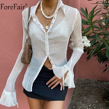 Forefair 2021 Autumn Women Sexy T Shirts Vintage Fashion V Neck Button Y2k See Through White Casual Long Sleeve Top Ladies