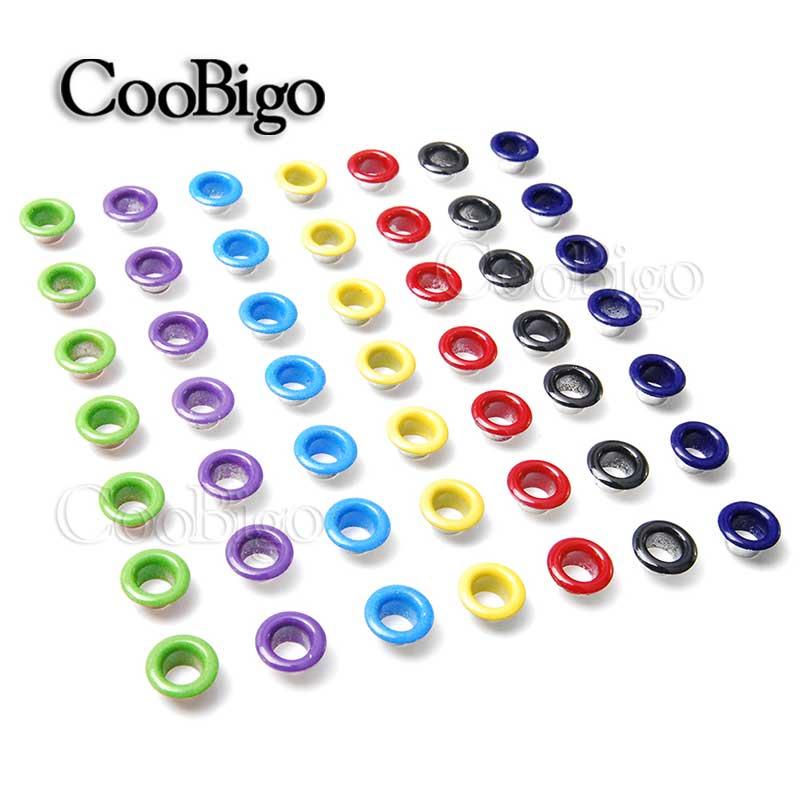 500 Uds. Agujero de Color mezclado 5mm ojales de Metal para artesanía de cuero DIY Scrapbooking zapatos cinturón Cap Bag etiquetas para Ropa Accesorios de tienda