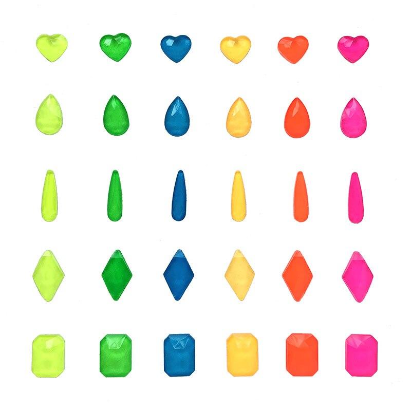 Nueva oferta de cristales de imitación para Nail art, de colores variados, planos y fluorescentes, para decoración artística de uñas DIY, 30/100 Uds.