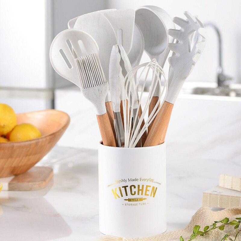 Set de utensilios de cocina de silicona de 11 uds, espátula antiadherente para sopa, cuchara para huevos, pinza de comida, mango de madera con caja de almacenamiento, herramienta de cocina