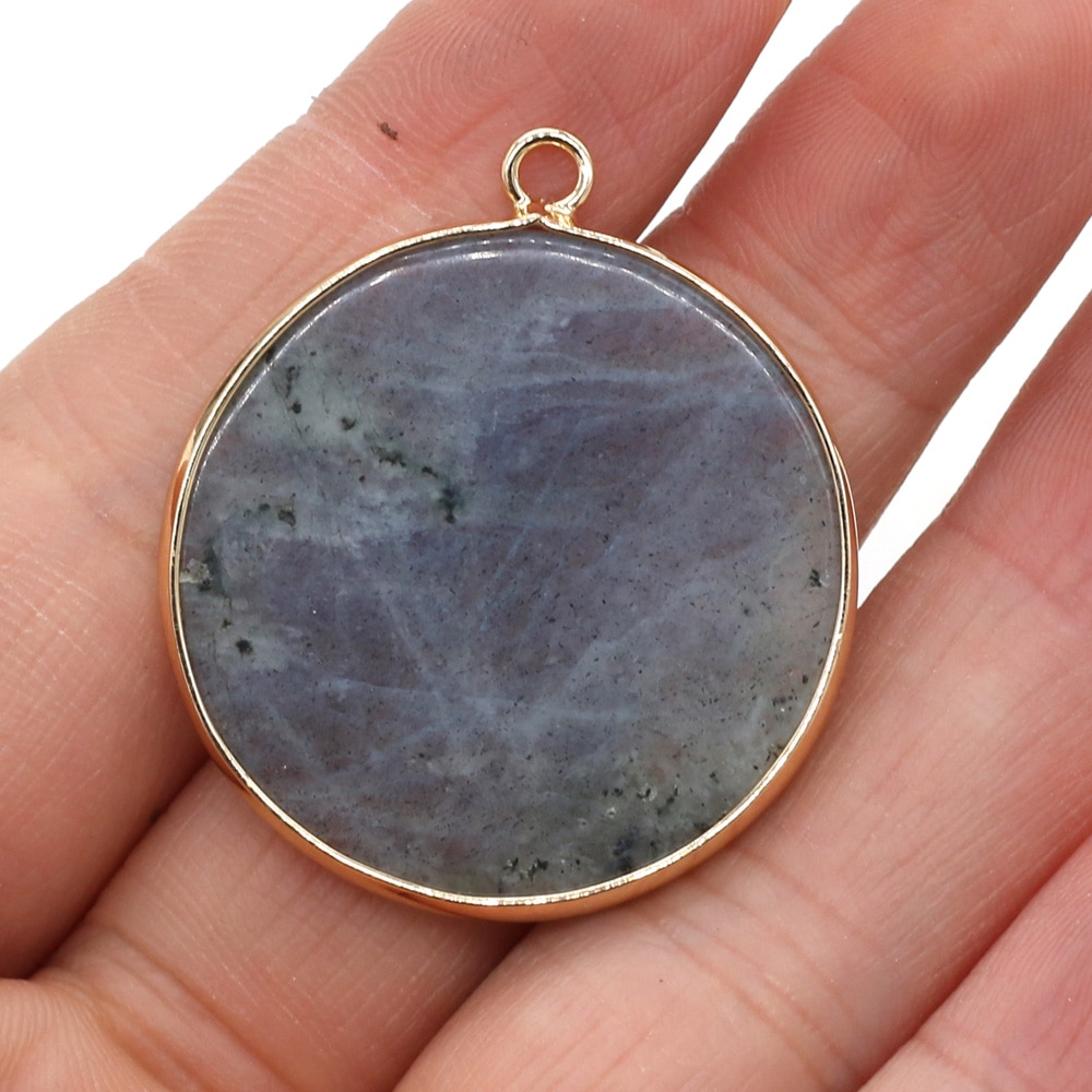 Natural Stone Disc Shape Crystal Pendant Charms Aventurine Jades Pendants for Jewelry Making DIY Necklace Earring Size 30x35mm  - buy with discount
