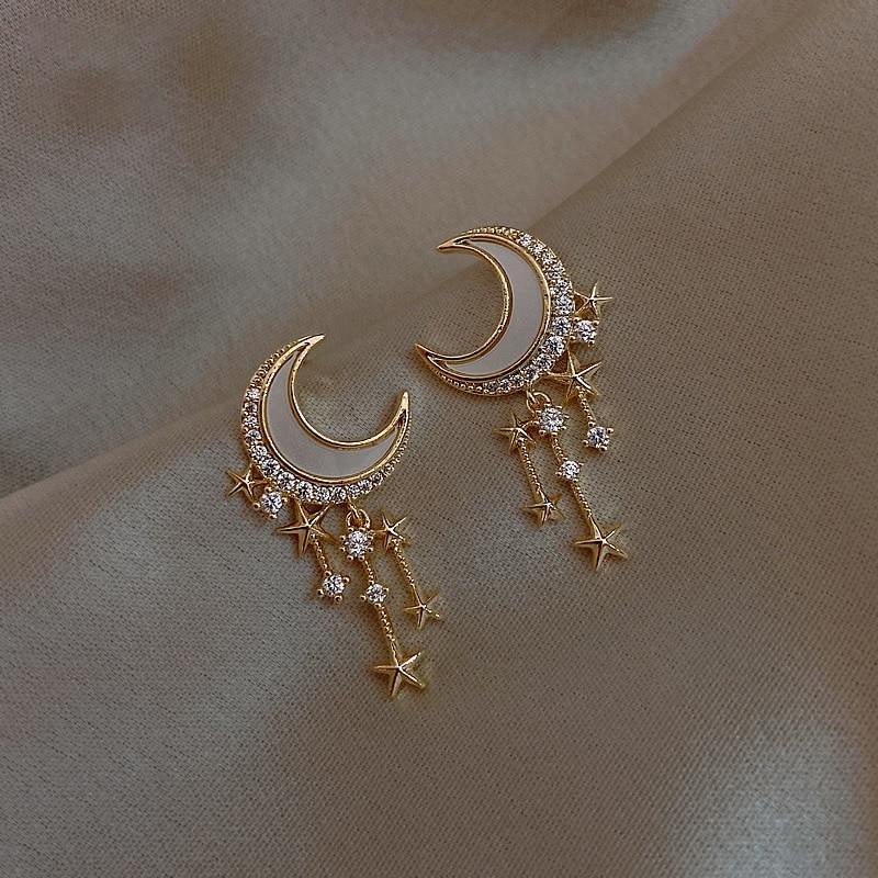 Neue Mode Kupfer-zink-legierung Stern Und Mond Ohrringe Charms Stern Quaste Stud Ohrringe Für Frauen Korean Schmuck 2020