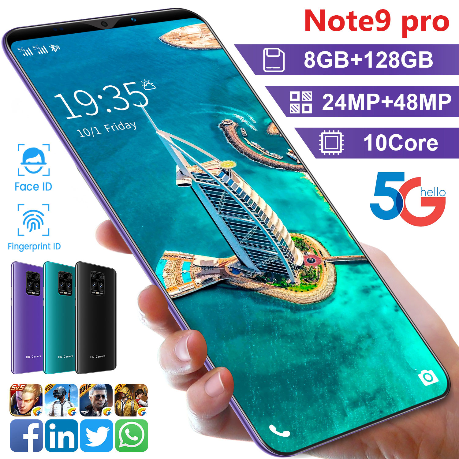 Global Version 5.5 Inch Note 9 Pro Android10 Smartphone 8+128GB 10 Core Full Screen Support Google Face Unlock 5G Network Phone enlarge