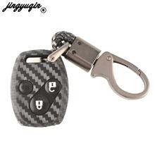 jingyuqin 2/3b Silicone Skin Car Key Case Cover FOB For Honda CIVIC JAZZ Pilot Accord CR-V Car Styling remote key shell