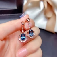 fashion elegant drop earrings oval blue cubic zircon geometric delicate rose gold jewelry for women wedding birthday gift