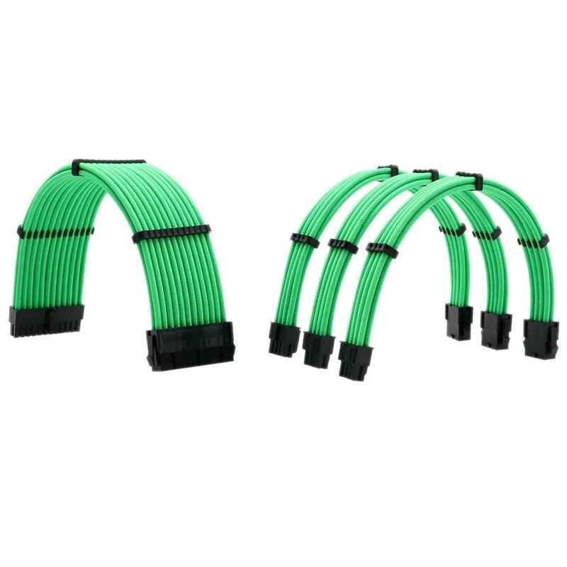 طقم كابل تمديد أساسي ، 1X24Pin ATX 1X4 + 4Pin EPS 2X8Pin PCI-E كابل تمديد الطاقة 1 مجموعة من مشط الكابل