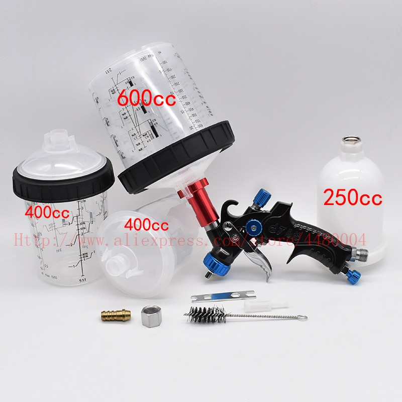 Alta qualidade pistola de pulverizador airbrush manual pistola 1.0mm 160cc 400cc 600cc pintura mistura copo pps copo gravidade spray ferramenta