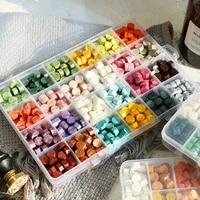 multicolor lacquer wax octagonal paint sealing wax particle grid plastic box diy invitation envelope sealing200375600pcs