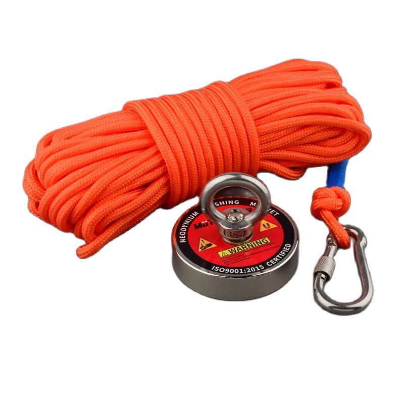 Спасательные магниты 180 кг, печатный дизайн, сильный магнит N52, Неодимовый Постоянный магнит, рыболовный магнит, поисковый магнитный материа...