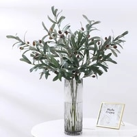 artificial olive leaves olive tree branches green leaf christmas plant fruit artificial plant photo props home wedding decortion
