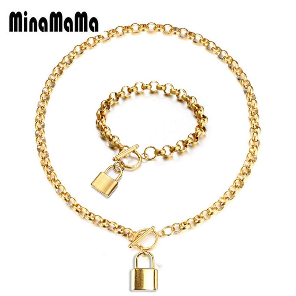 Stainless Steel Lock Pendant Necklace Bracelet Padlock Jewelry Sets For Women Men Birthday Gift