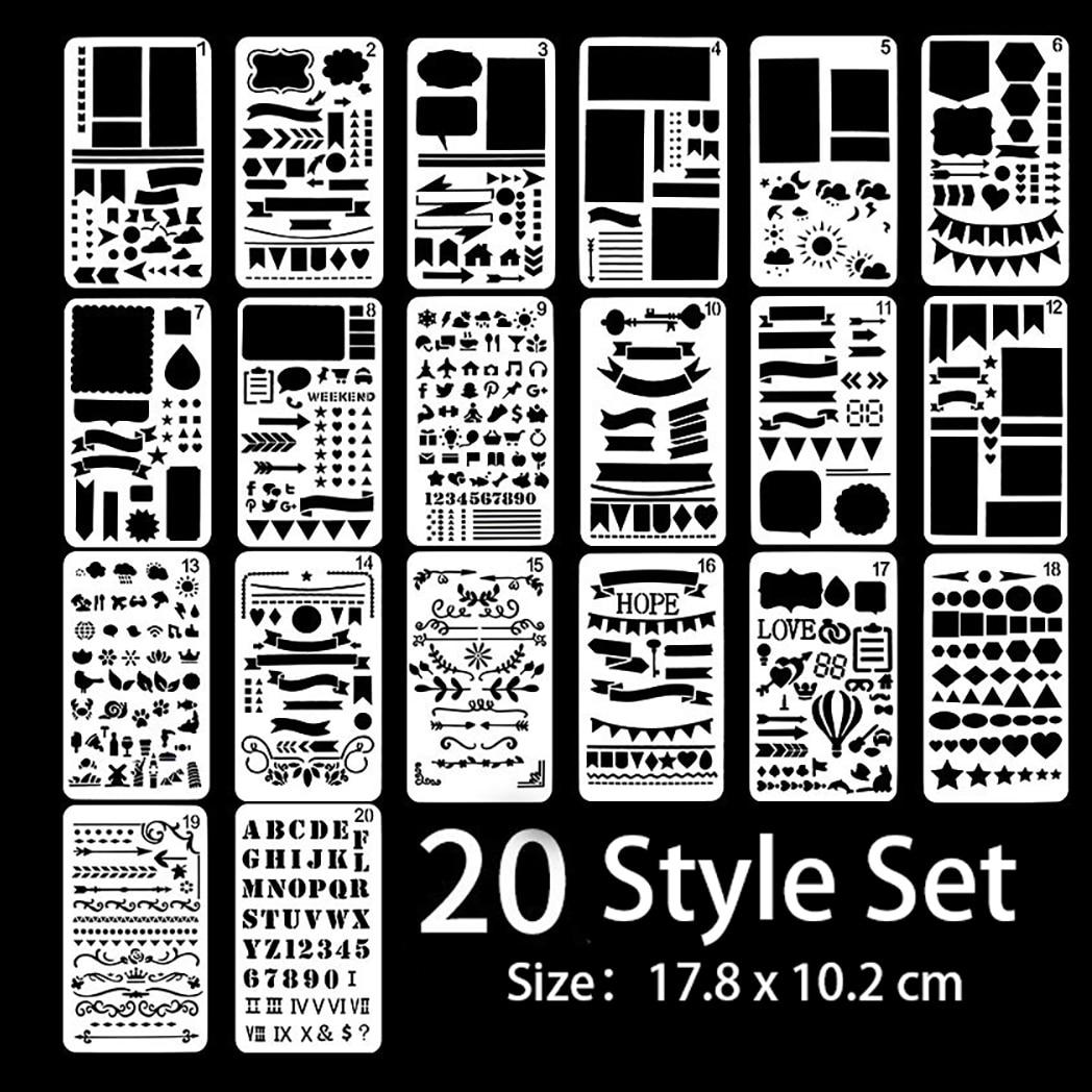 20 листов шаблон для рисования линейка DIY шаблон для рисования геометрический выдолбленный шаблон для скрапбукинга тиснильный альбом