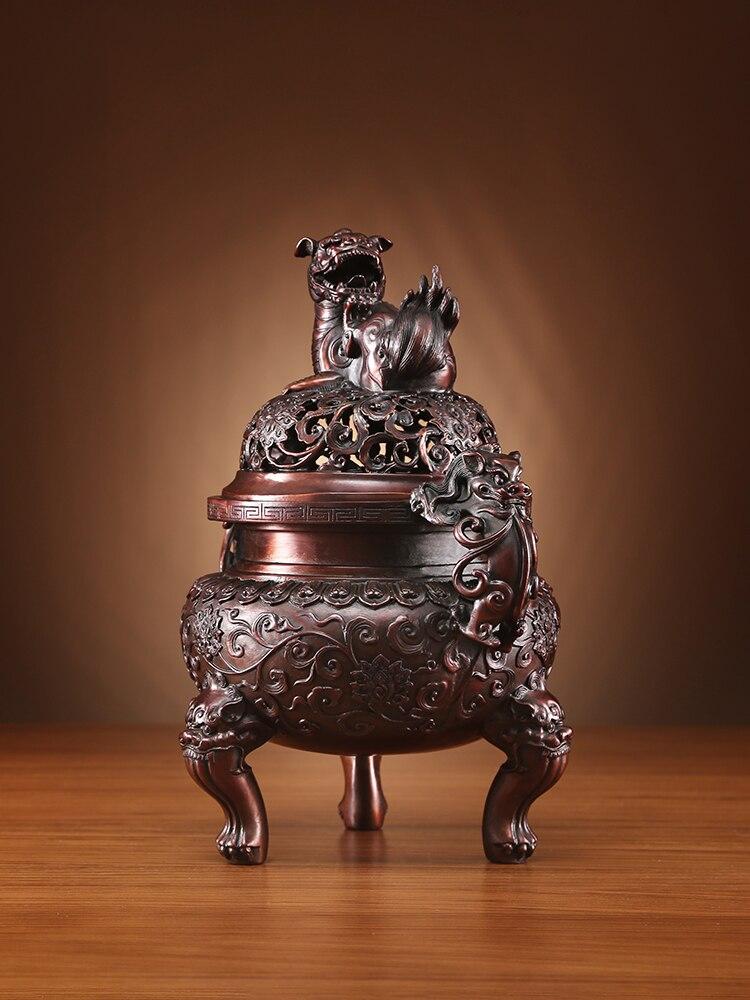 مبخرة نحاسية من Tongxinxiang بخور عتيق من Xuande أسد مبخرة منزلية من خشب الصندل مبخرة من خشب العود