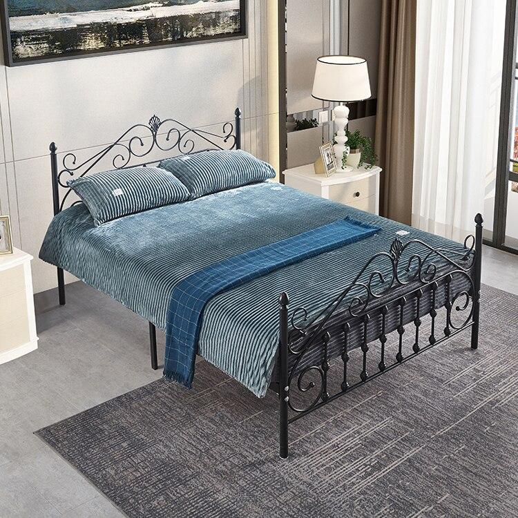 Marco de cama de Metal creativo para apartamento pequeño, muebles para habitación...