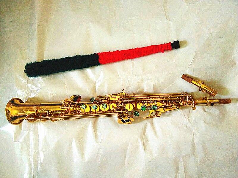 Brand new High quality Saxophone soprano BB straight flat wooden wind instrument key shell engraved pattern transport box
