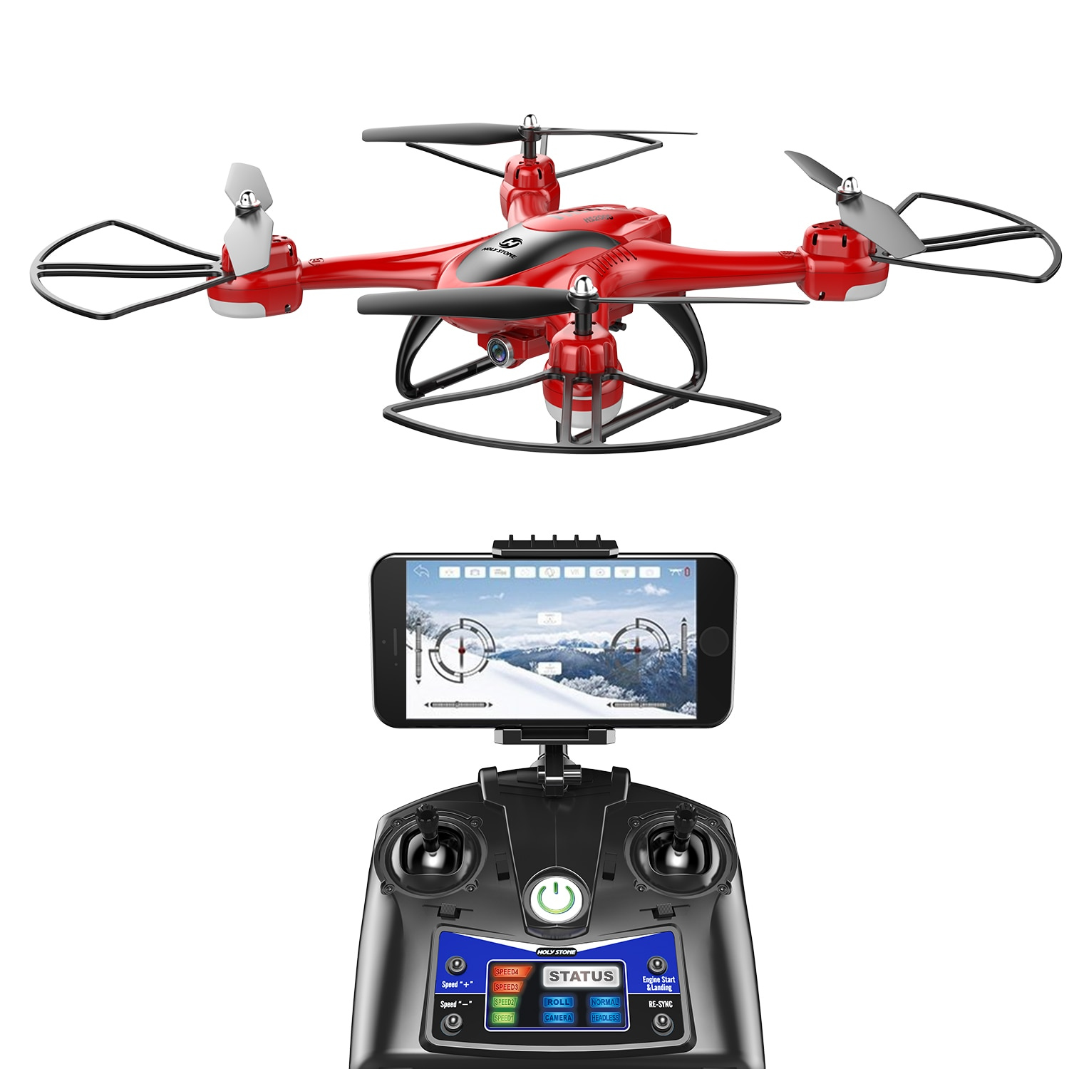 2 Batteries Holy Stone HS200D FPV Drone with 720P HD Live Video Wifi Camera 2.4GHz 4CH 6-Axis Black Red color enlarge