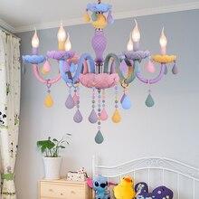 Chambre denfants lustre éclairage coloré salon rose fille chambre lustre lampe Macaron couleur Droplight lustre de cristal