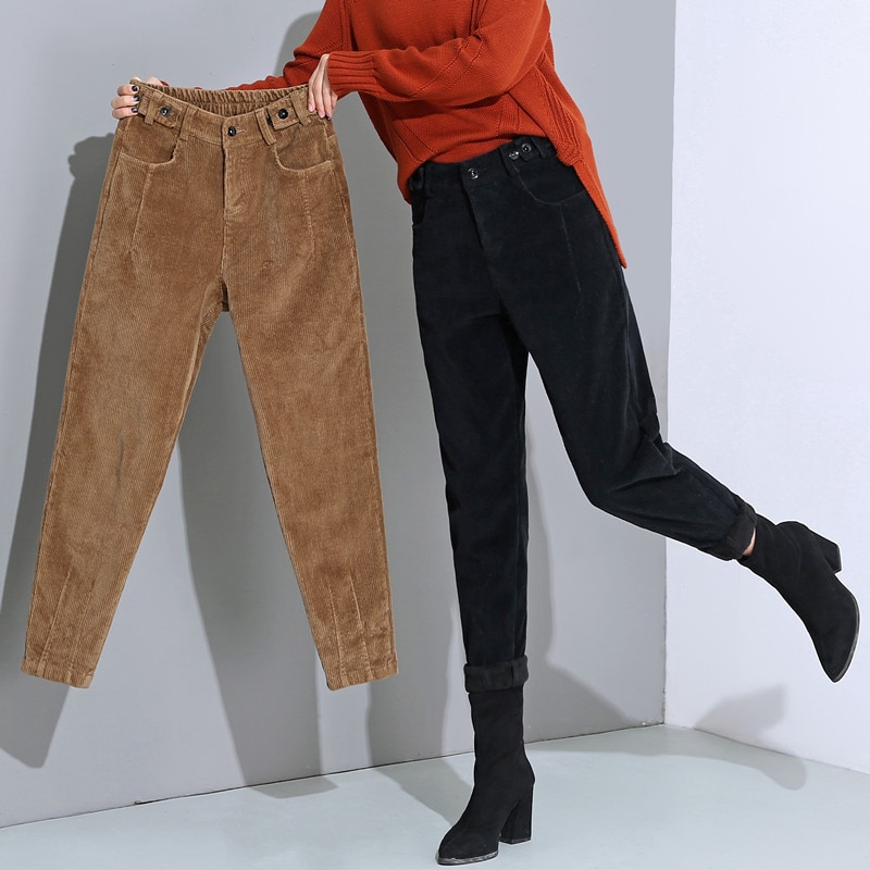 Autumn Winter New High Waist Corduroy Harem Pants Women Plus Size Loose Black Pants Women Long Thickn Velvet Trousers Sweatpants