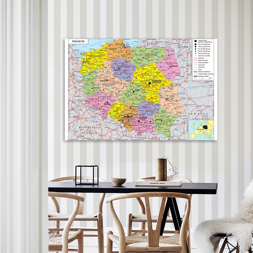 150*100 см карта транспорта Польши (на французском языке) настенный постер нетканый Холст Картина домашний декор школьные принадлежности