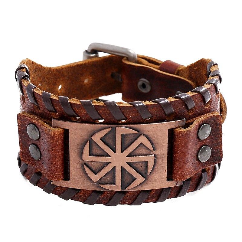 Jessingshow sol eslavo de Talisman, amuleto de pulsera de cuero brazalete gemelo envuelto para el hombre las mujeres joyería Wicca Accesorios