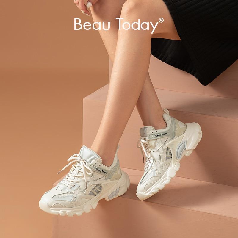BeauToday-حذاء رياضي نسائي سميك ، حذاء رياضي من الجلد المنقسمة ، مسامي ، عصري ، غير رسمي ، مصنوع يدويًا ، 29382