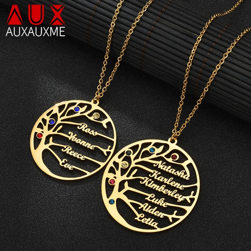 Auxauxme Personalized Tree Of Life Custom Name Necklace Stainless Steel Golden Family Tree Women Letter Necklace Christmas Gift недорого