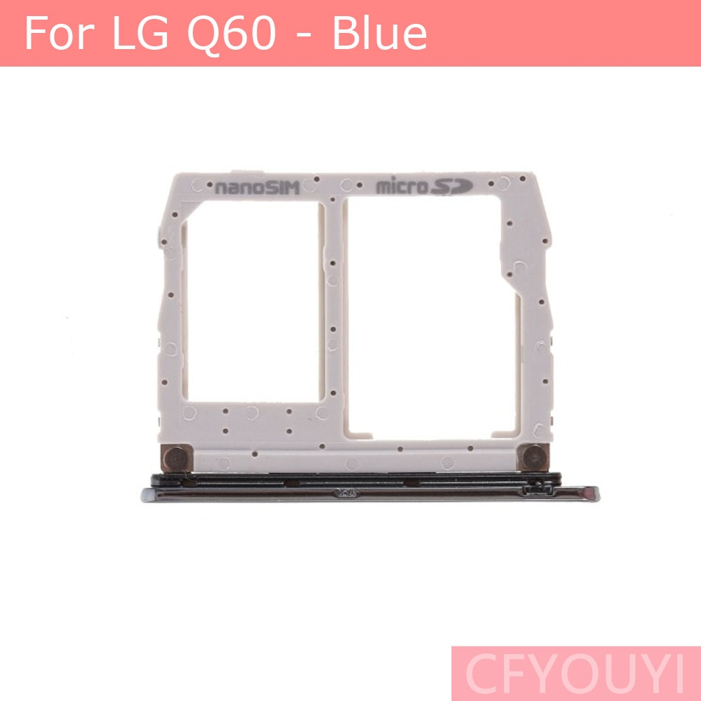 For LG Q60 Dual SIM Card Tray Slot Replace Part - Blue Color