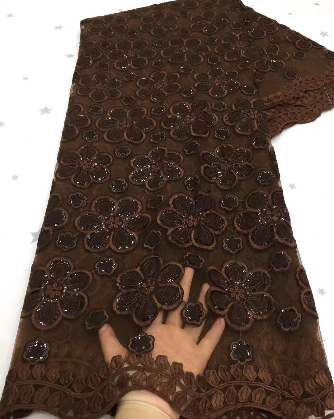 أحدث الأفريقي عالية الجودة لون القهوة الدانتيل جبر الحبل نسيج الدانتيل أفريقي الدانتيل للحزب فستان شعبي دبي نمط TS9385