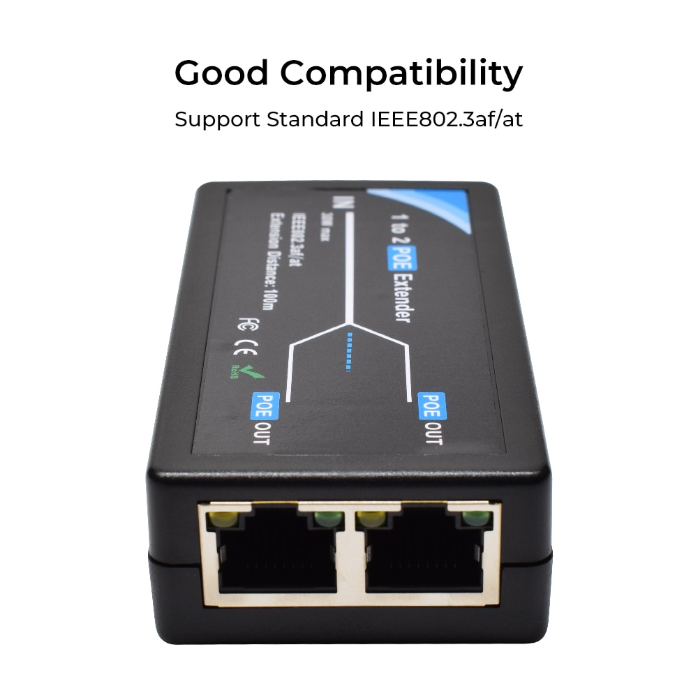 2 Port POE Extender 10/100Mbps 1.0gbps with IEEE 802.3af Standard Input / Output for IP Camera Extend 100 meters for POE range enlarge