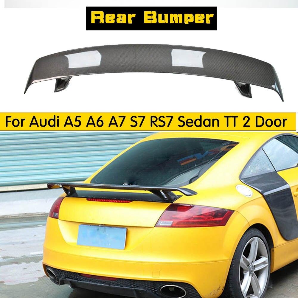 Estilo universal exterior de fibra carbono modificado spoiler traseiro cauda tronco lábio asa decoração para audi tt spoiler estilo do carro
