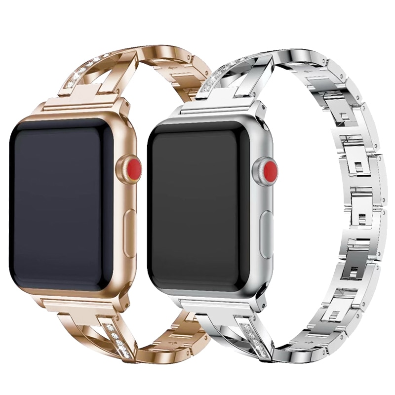 strap genuine leather bands for apple watch 38mm 42mm 40mm 44mm smart watches band for i watch series 5 4 3 2 1 women s bracelet Women Watch band for Apple Watch Bands 38mm 42mm 40mm 44mm diamond Stainless Steel Strap for iwatch series 5 4 3 2 1 Bracelet