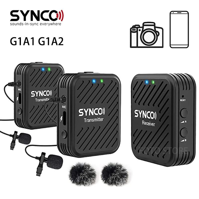 SYNCO G1 G1A1 G1A2 ميكروفون لاسلكي نظام 2.4GHz مقابلة Lavalier التلبيب هيئة التصنيع العسكري استقبال عدة للهواتف DSLR اللوحي كاميرا