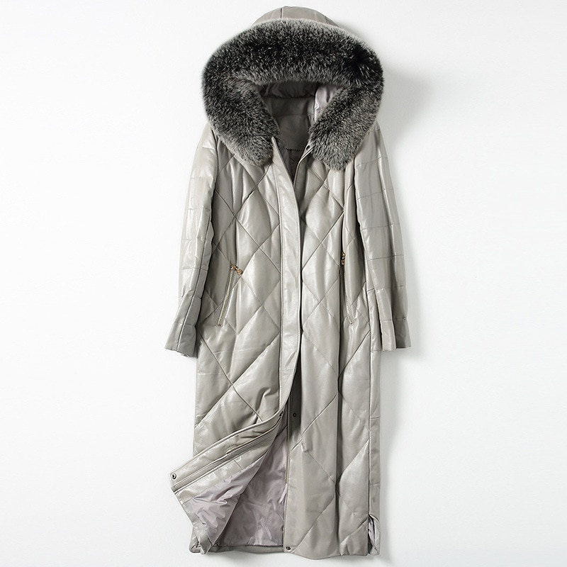 Fashionable Autumn Winter Leather Fur Women Sheep Skin Down Long Fox Fur Coat Thick Warm High Quality Office Gray Large Outwear